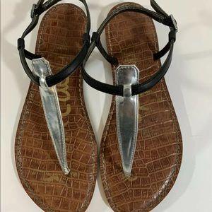 Sam Edelman Black Silver Flat Thong Sandals Size 8
